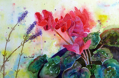 Cyclamen Painting - Potted Pink by Renee Chastant