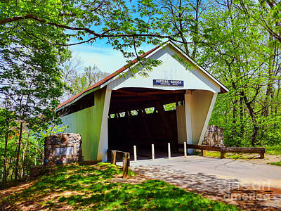Indiana Photograph - Potter's Bridge In Spring by Amy Lucid