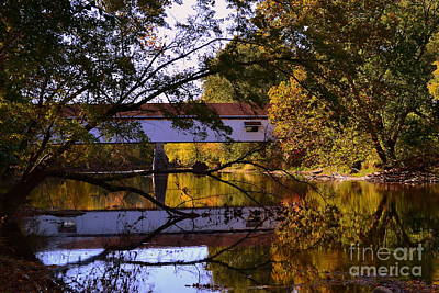 Potter's Covered Bridge Reflection Art Print by Amy Lucid