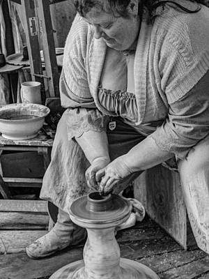 Handmade Hand Made Ceramic Pottery Pot Pots Photograph - Potters Wheel V1 by John Straton