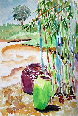 Punta Gorda Painting - Pottery And Bamboo by Penny MacKenzie