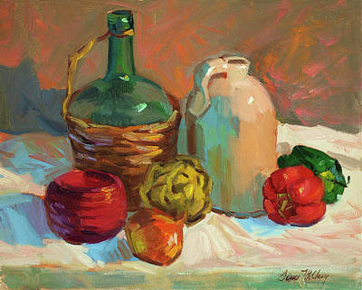 Wine Bottle Painting - Pottery And Vegetables by Diane McClary