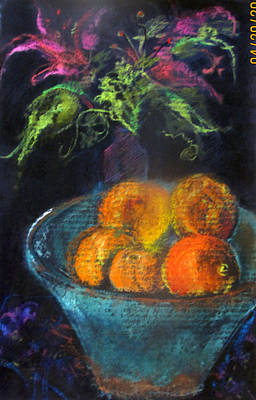 Pastel - Pottery Bowl With Oranges by Josie Taglienti