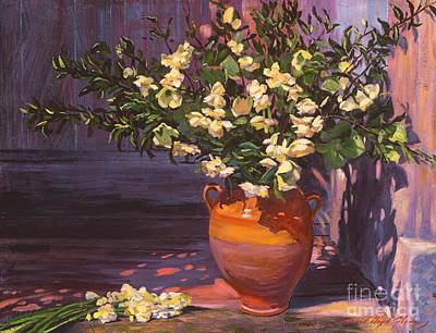 Outdoor Still Life Painting - Pottery Flower Jug by David Lloyd Glover