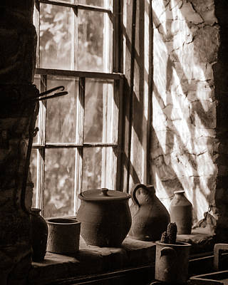 Pottery On A Stone Sill Art Print by Chris Bordeleau