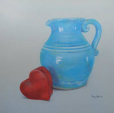Pottery Pitcher With Mache Heart Box Original by Tracy Meola