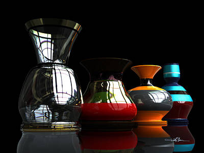 Digital Art - Pottery Quartet by William Ladson