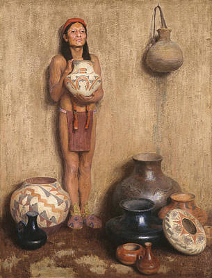 Native American Pottery Painting - Pottery Vendor by Mountain Dreams