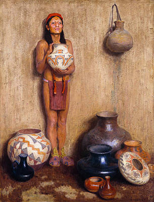 Of Artist Photograph - Pottery Vendor by Eanger Irving Couse