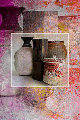 Pottery With Abstract Art Print by John Fish