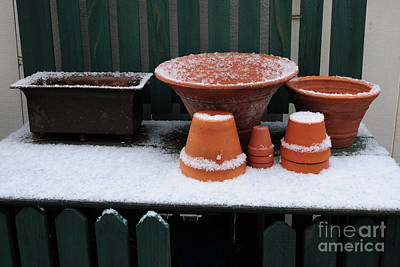 Art Print featuring the photograph Potting Bench In Snow 11 by Vinnie Oakes