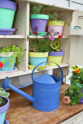 Potting Bench With Containers Art Print