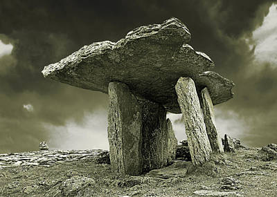 Photograph - Poulnabrone Dolmen Clare Ireland Sepia by Jane McIlroy