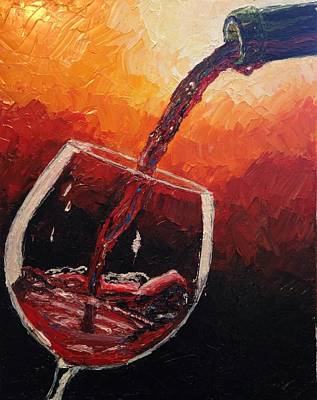 Painting - Pouring Red Wine by Eryn Tehan