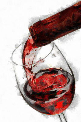 Pouring Red Wine Art Print by Georgi Dimitrov
