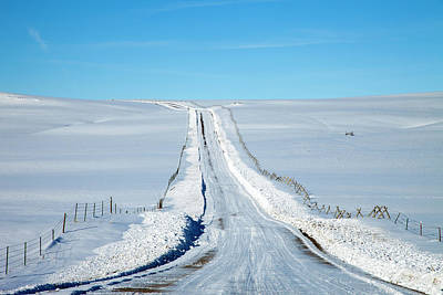 Pov Of Snow Covered Country Road Art Print by Andrew Geiger