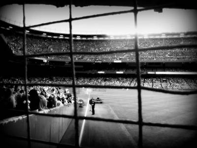 Ny Yankees Digital Art - Pov Right Field Foul Pole Original Yankee Stadium In Black And White by Aurelio Zucco