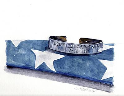 Mermaid Watercolor Painting - P.o.w. Bracelet With Flag by Sheryl Heatherly Hawkins