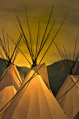 Pow Wow Camp At Sunrise Art Print by Kae Cheatham
