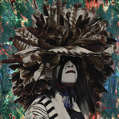 Feathered Hat Painting - Pow Wow by Dancin Artworks