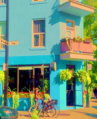 Depanneur Painting - Powder Blue Corner Cafe Elses Pub Rue Roy  Montreal Sunny Summer Cafe Scene Carole Spandau by Carole Spandau