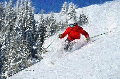 Ski Art Mixed Media - Powder Fun by Garland Johnson