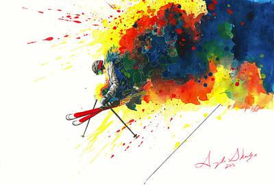 Powder Skiing Painting - Powder Jump by Angee Skoubye