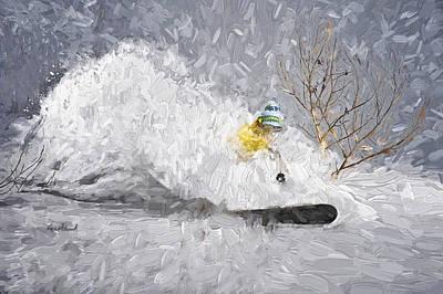 Ski Art Mixed Media - Powder Storm by Garland Johnson