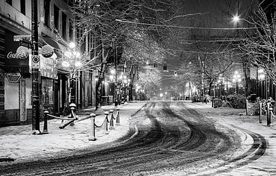 Snowy Night Photograph - Powell And Carrall Street In Gastown by Alexis Birkill