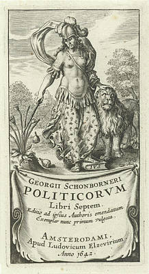 Power As Female Soldier In Armor With Lion Art Print by Cornelis Van Dalen (i) And Lowijs Elzevier (iii)