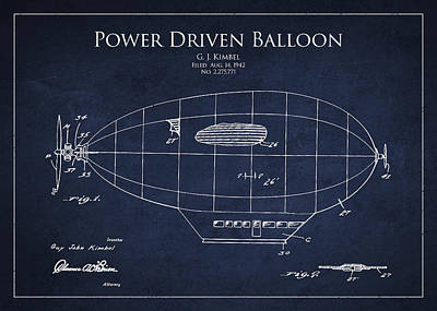 Zeppelin Digital Art - Power Driven Balloon Patent by Aged Pixel