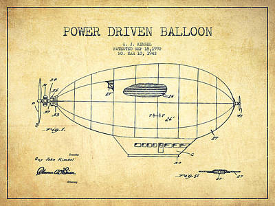 Zeppelin Digital Art - Power Driven Balloon Patent-vintage by Aged Pixel