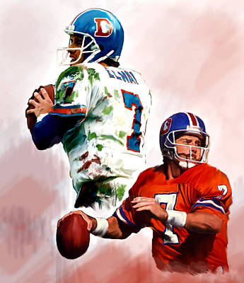 John Denver Painting - Power Force John Elway by Iconic Images Art Gallery David Pucciarelli