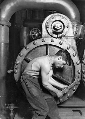 Power House Mechanic Working On Steam Pump Art Print by Lewis Hine