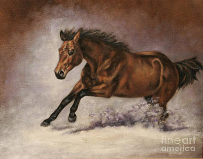 Bay Thoroughbred Painting - Power by Linda Shantz