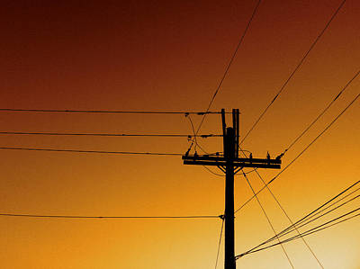 Power Line Sunset Art Print by Don Spenner