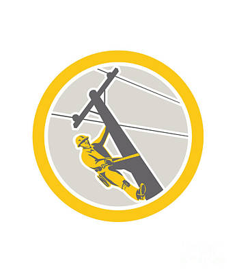 Power Lineman Repairman Climbing Pole Circle Art Print