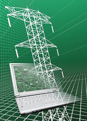 Power Lines And Laptop Art Print