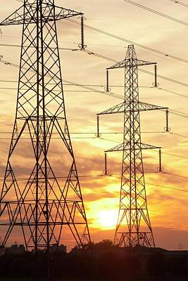 Electric Pylon Photograph - Power Lines And Pylons At Sunset by Ashley Cooper