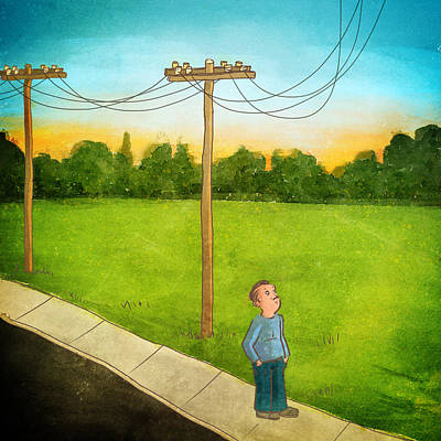 Telephone Wires Drawing - Power Lines by Jack Myers