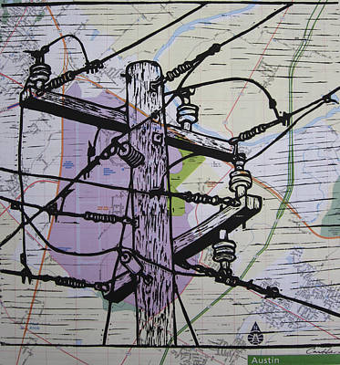 Power Lines On Map Art Print by William Cauthern