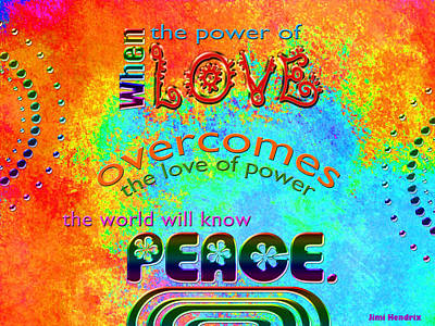 Digital Art - Power Of Love - Jimi Hendrix Quote by Randi Kuhne