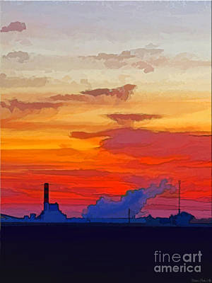 Photograph - Power Plant Sunrise - New Improved Version by Debbie Portwood