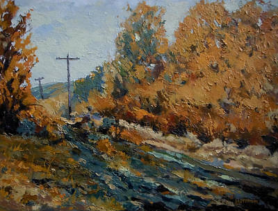 Painting - Power Poles Behind Camelback Park by Les Herman