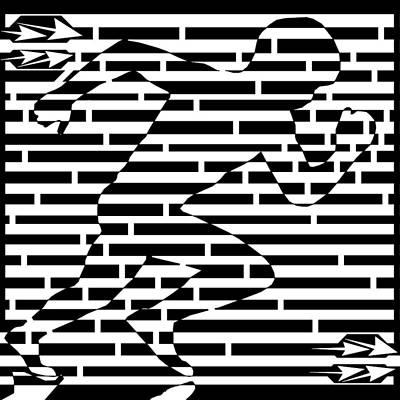 Sports Maze Drawing - Power Runner Maze by Yonatan Frimer Maze Artist