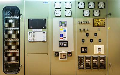 Power Station Control Panel Art Print by Gustoimages