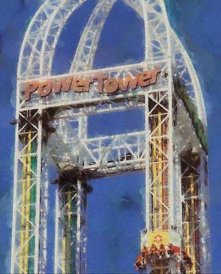 Roller Coaster Painting - Power Tower Cedar Point by Dan Sproul