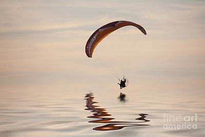 Powered Paraglider Art Print by John Edwards