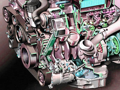Powerful Car Engine  Art Print by Lanjee Chee