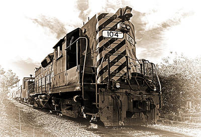 Locomotive Photograph - Powerful In Sepia by Marcia Colelli